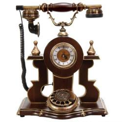 Saatli Ceviz Ahşap Telefon