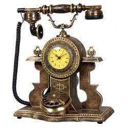 Saatli Ceviz Ahşap Ferforje Telefon