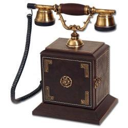Kapaklı Deri Konak Ahşap Telefon