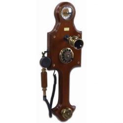 Saatli Antik Duvar Ahşap Telefon