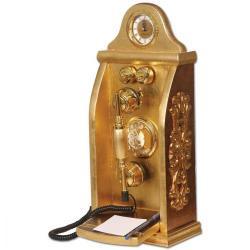 Otel Tipi Altın Varaklı Ahşap Telefon