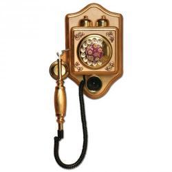 Küçük Duvar İşlemeli Varaklı Telefon