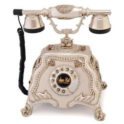 Barok Gümüş Varaklı Swarovski Taşlı Telefon
