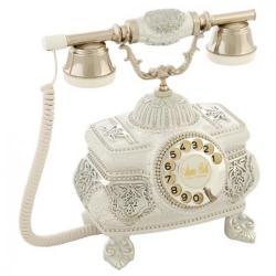 Kristal Ç.Beyaz Gümüş Varaklı Taşlı Telefon