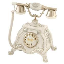 Barok Ç.Beyaz Gümüş Varaklı Taşlı Telefon