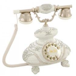 İtalyan Ç.Beyaz Gümüş Varaklı Taşlı Telefon