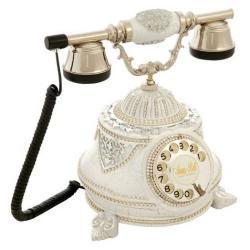 Tombul Ç.Beyaz Gümüş Varaklı Taşlı Telefon