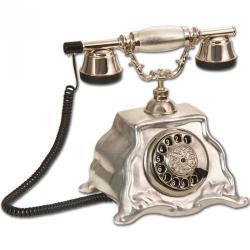 Barok Gümüş Varaklı Porselen Telefon