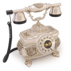 Kristal Gümüş Varaklı Swarovski Taşlı Telefon