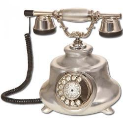 Tombul Gümüş Varaklı Porselen Telefon
