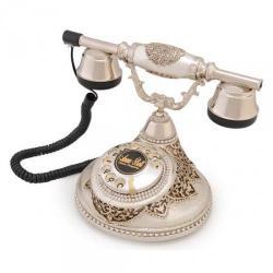 Antik Damla Gümüş Varaklı Swarovski Taşlı Telefon