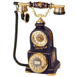 Porselen Saatli Kobalt Telefon