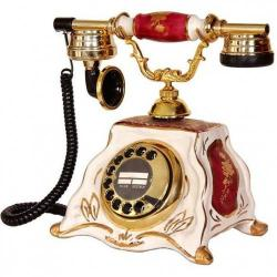Porselen Barok Bordo Beyaz Telefon