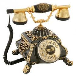 Osmanlı Siyah Varaklı Swarovski Taşlı Telefon