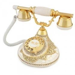 Antik Damla Beyaz Varaklı Telefon