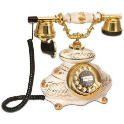 İtalyan Porselen Beyaz Antika Telefon