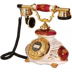 İtalyan Porselen Bordo Beyaz Telefon
