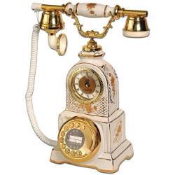 Saatli Beyaz Porselen Telefon