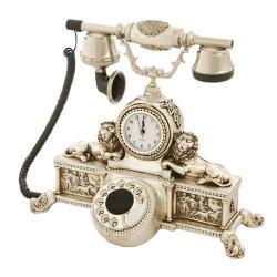 Çift Aslanlı Gümüş Varaklı Swarovski Taşlı Telefon