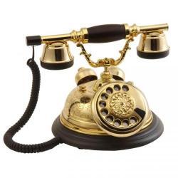 Kubbe El Dekorlu Pirinç Telefon
