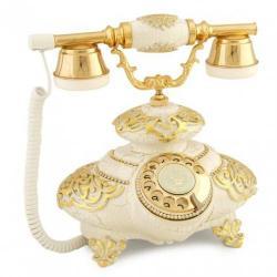 İtalyan Tombul Beyaz Varaklı Telefon