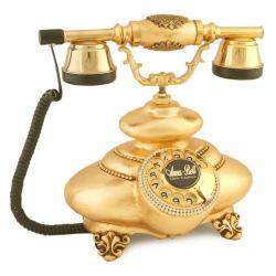 İtalyan Tombul Altın Varaklı Telefon