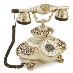 İtalyan Tombul Antik Gümüş Varaklı Telefon