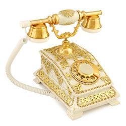 Büro Antik Çatlak Beyaz Varaklı Telefon