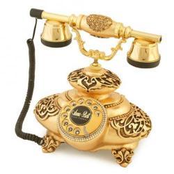 İtalyan Tombul Antik Altın Varaklı Telefon