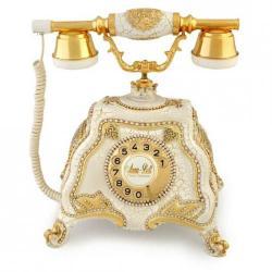 Barok Beyaz Varaklı Swarovski Taşlı Telefon