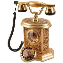 Saatli İşlemeli Varaklı Klasik Telefon