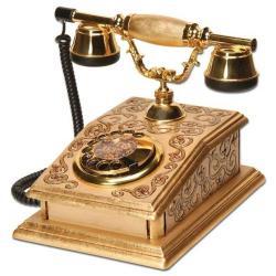 Büro Varaklı İşlemeli Ahşap Telefon