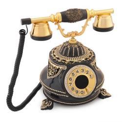 Tombul Siyah Altın Varaklı Swarovski Taşlı Telefon