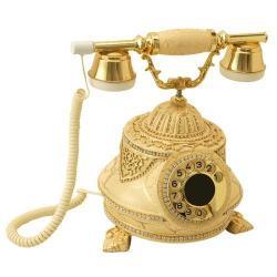 Tombul Şampanya Altın Varaklı Swarovski Taşlı Telefon