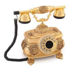 Kristal Altın Varaklı Swarovski Taşlı Telefon