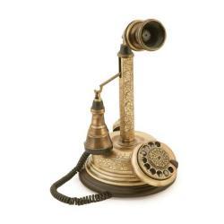 El Dekorlu Antik Leylek Telefon