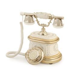 Hisar Ahşap Beyaz Gümüş Telefon