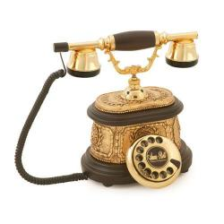 Hisar Ahşap Altın Varaklı Telefon
