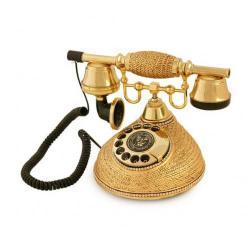 Hasır Altın Varaklı Swarovski Taşlı Telefon