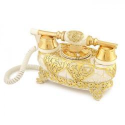 İtalyan Yatık Varaklı Çatlak Beyaz Telefon