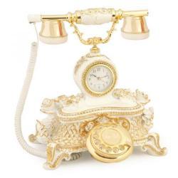 Saatli Güllü Varaklı Krem Altın Telefon