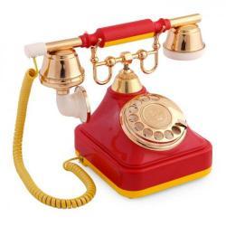 Sarı Kırmızı Klasik Çevirmeli Telefon
