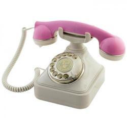 Anna Bell Pembe Krem Çevirmeli Klasik Telefon