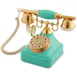 Anna Bell Turkuaz Altın Tuşlu Klasik Telefon