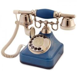 Anna Bell Mavi Gümüş Çevirmeli Klasik Telefon