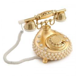 Damla İncili Altın Varaklı Telefon