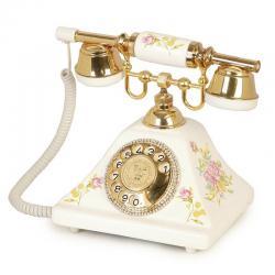 Piramit Seramik Çiçekli Klasik Telefon