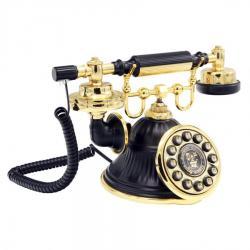 Klasik Tuşlu Siyah Altın Çan Telefon