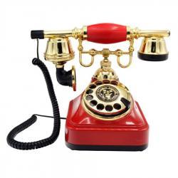 Kırmızı Retro Çevirmeli Telefon